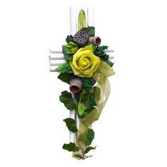 Kegyeleti sírkereszt zöld színben Floral Wreath, Wreaths, Plants, Garden, Home Decor, Garlands, Flower Crowns, Garten, Door Wreaths