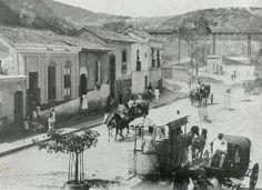 Coches y tranvías de caballos en Caño Amarillo 1930