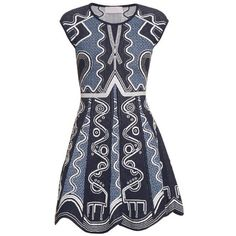 Peter Pilotto Lito intarsia-knit dress (82,105 INR) ❤ liked on Polyvore featuring dresses, summer 2016, blue multi, peter pilotto dress, knit dress, geometric dress, blue summer dress and blue dress
