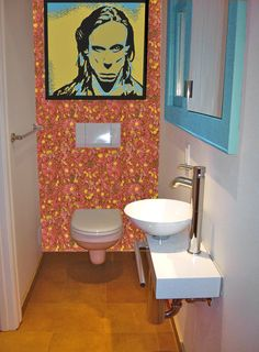Powder Room Small Bathroom Design, Pictures, Remodel, Decor and Ideas Small Bathroom, Small Bathroom Design, Orange Tiles, Bathroom Decor, Modern Room, Powder Room Design, Toilet Design, Funky Bathroom, Small Bathroom Decor