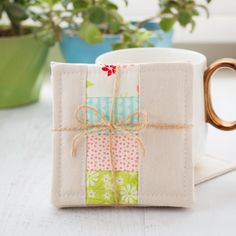linen patchwork coasters sewing tutorial, patchwork coasters sewing pattern, how to sew coasters, quick and easy things to sew, easy sewing projects, sewing for beginners, miss kate fabric, zakka sewing projects, sewing for the home, handmade coasters, sewing gifts, gifts to sew