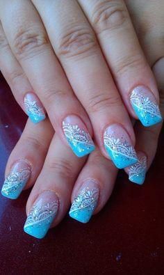 Blue and white nails, Cool nails, Fashion nails 2016, Festive nails, Glitter nails, Glitter nails ideas, January nails, Lacy nails