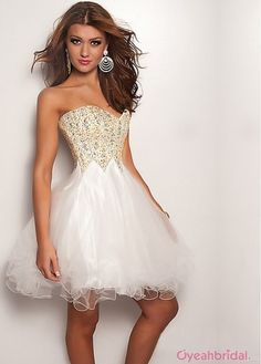 Stunning Sexy A-line Knee-length Sweetheart Ruffles Beaded Tulle & Organza Cheap Homecoming Dress Under 150  HD-4160