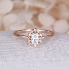 Vintage engagement ring Oval Moissanite engagement ring rose gold diamond halo wedding Jewelry Anniversary Valentines Day Gift for women  Description: -Classic style diamond ring -Natural Conflict Free Diamonds - comfortable band  Moissanite carat:approx 6*4mm-Forever Brilliant