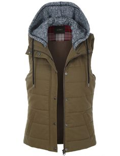Give your outfit a flare of the military trend with our lightweight sleeveless military anorak vest. Layer our basic racerback tank top underneath with distressed skinny jeans for an effortless stylish look. For another look, pair it with a maxi dress for a more feminine military style. Feature CONTRAST: 65% Cotton / 35% Polyester; SHELL: 100% Cotton Durable, fully padded material for all-day comfort Full zip up and snap button closure Features hoodie with adjustable drawstring / 2 Pockets…