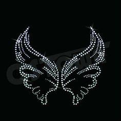 Textile patterns-Angel's Wing cheap rhinestone transfers
