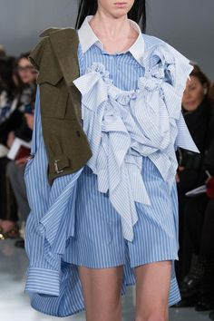 John Galliano for Maison Margiela SS 2016 Artisanal Look Model-Teddy Quinlivan Fashion Details, Unique Fashion, Fashion Art, High Fashion, Fashion Show, Fashion Outfits, Fashion Design, Blue And White Striped Shirt, Striped Shirt Dress