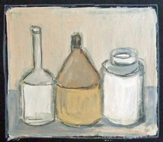 'After Morandi 1'. acrylic on board, Hiawyn Oram 2013. SOLD