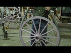 This shows the process of installing solid, hard rubber tires on carriage, buggy or wagon wheels. I also show the machine I built to do the process. Coach Shop, Wagon Wheels, Wooden Wagon, Book Drawing, Rubber Tires, Amish Farm, Woodworking, Landscaping, Gardening
