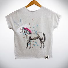 Kids illustrated tshirt Pink Iroquois Horse for kids by Pocopato www.pocopato.pl