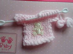 Pink Knitted Cardigan Gorgeous Baby Girl Card by WendyLizabet