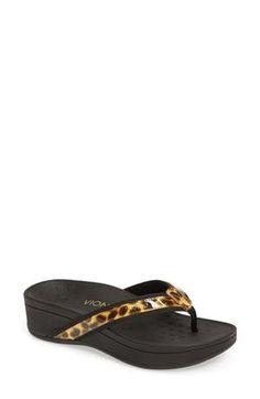 7d64b4eac Vionic High Tide Wedge Flip Flop (Women) Leopard Print Sandals