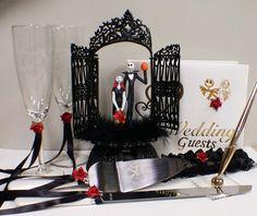 Nightmare before Christmas Wedding Cake topper Lot Disney glasses, knife, book Jack Sally Halloween. $157.00, via Etsy.