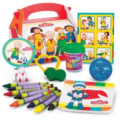Caillou Party Favor Box Each box includes: empty favor box*, sticker sheet*, blowout*, assorted glitter bounce ball, assorted color dough, assorted cookie cutter, notepad* and 8 assorted jumbo crayons
