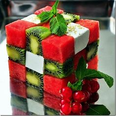 Fruit and cheese rubiks cube! healthy dessert!