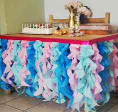 Pink blue table skirt ruffle skirt with turquoise, aqua, light pink, fuchsia tissue ruffles and premium satin ribbon for party table 9th Birthday, Birthday Parties, Birthday Ideas, Ocean Party, Pink Blue, Aqua, Turquoise, Nautical Baby, Mermaid Birthday