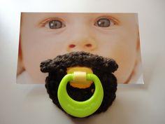 yup-Crocheted mustache pacifier The Folk Singer by stachebash on Etsy Baby Shower Fun, Boy Shower, Baby Shower Gifts, Baby Gifts, Crochet Mustache, Cute Kids, Cute Babies, Little Man, Beards