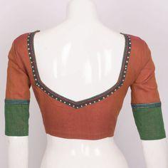 Hand Crafted Cotton Blouse With Lining & Long Sleeve 10015303 - size 36 - back - AVISHYA.COM