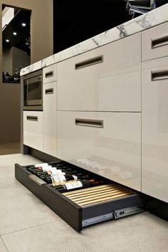 Hidden wine drawer #modularkitchen