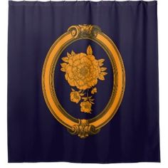 Elegant Blue And Gold Shower Curtain
