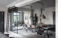 A classic Swedish house in the industrial interior House Design, Industrial Decor, Industrial House, Interior, Dream Decor, My Scandinavian Home, Home Decor, Industrial Interiors, Swedish House
