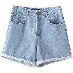 Chicnova Fashion Denim Shorts ($18) ❤ liked on Polyvore featuring shorts, jean shorts, denim short shorts, zipper shorts, denim shorts and short jean shorts