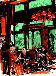 Travel Sketchbook, Art Watercolour, Coffee Ideas, Urban Sketchers, Paper, Urban Sketching