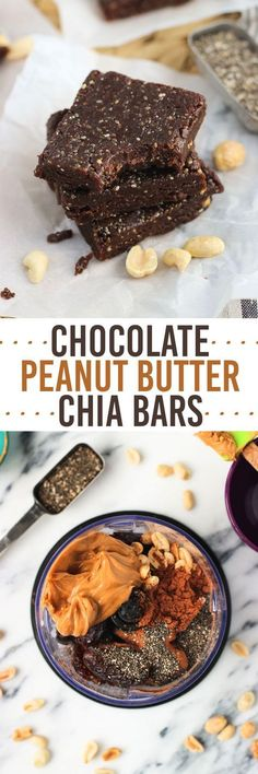 Chocolate Peanut Butter Chia Bars - an easy five-ingredient healthy snack recipe. These bars are no-bake, naturally sweetened, and vegan. | healthy recipe ideas /xhealthyrecipex/ |