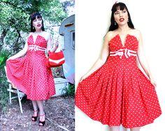 RED and WHITE SPOTTY Polka Dot Dress Rd4 Full 50s skirt