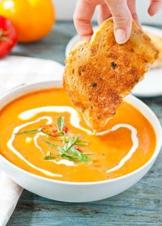 Knobby, end-of-season tomatoes are perfect in this blended soup. The grilled cheese is optional, or is it? Get the recipe here.