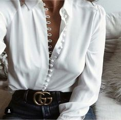 $50 - $250 Cream White Silk Satin Button Detail Long Sleeved Blouse And Gold Buckle Gucci Logo Black Leather Belt Chic Elegant Work Spring Summer Outfit Tumblr
