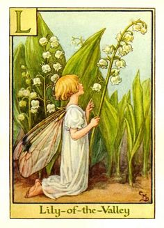 Lily-of-the-Valley Flower Fairy Vintage Print by Cicely Mary Barker printed c.1940 – The Lily-of-the-Valley Flower Fairy is one of Cicely Barkers Alphabet Flower Fairies.