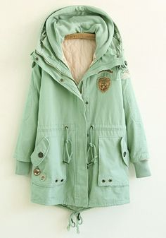 Green Plain Drawstring Cotton Blend Padded Coat