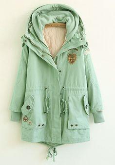 Green Plain Drawstring Cotton Blend Padded Coat