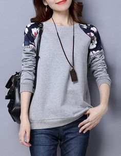Fashion Printed Patchwork Long Sleeve Pullover Sweatshirt For Women