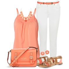 Coral & White, created by lgb321 on Polyvore