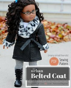 INSTANT PDF PATTERN DOWNLOAD! PDF Pattern and 16 page Guidebook to make the Urban Belted Coat for 18 Dolls like American Girl. Your purchase