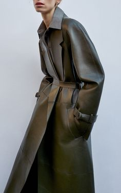 This **JOSEPH** Solferino Leather Coat features an exaggerated lapel, a belt at the waist for cinching, and two front pockets. Joseph Fashion, Ann Demeulemeester, Yohji Yamamoto, Latest Fashion, Style Fashion, Jil Sander, Ready To Wear, Menswear, Coat
