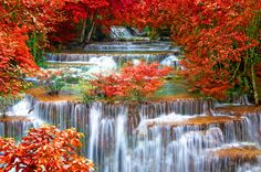 Autumn Waterfall Waterfalls Nature Background Wallpapers on