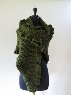Forest Green Color Women Knitted Chunky Shawl Wrap Stole with Ruffled Trim by Knitsome Studio