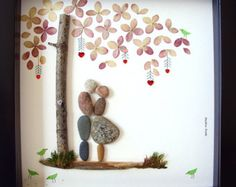 Boda regalo piedra compromiso arte único regalo-única boda regalo amor regalo - novia y novio regalo guijarro arte presente-PAREJA
