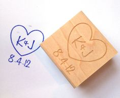 "Custom Heart Stamp. Custom Initials and Date. DIY Wedding Decor  1.5"" Valentines Day Gift Idea on Etsy, $22.00"