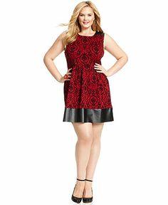 Soprano Plus Size Sleeveless Printed Faux-Leather-Trim Dress Plus Sizes - Macy's