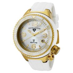 Swiss Legend Men's Quartz Watch with White Dial Analogue Display and White Silicone Strap SL00021/18 >>> More info could be found at the image url.