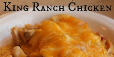 Slow Cooker King Ranch Chicken! With cream of chicken soup, cream of mushroom soup, Mexican blend shredded cheese, and tortilla chips!