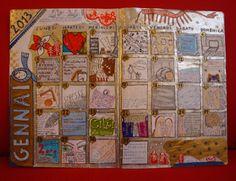 la mia pagina di gennaio completata (art journaling calendar)