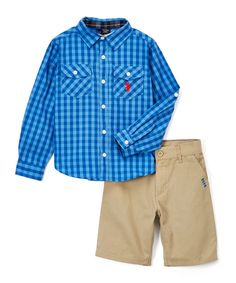 Navy Blue Plaid Button-Up & Shorts - Infant Toddler & Boys
