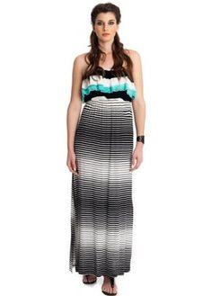 MAT Fashion Monochrome Striped Bandeau Jersey Maxi Dress £80