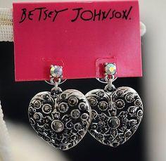 NWT Auth Betsey Johnson Whiteout Silvertone Rhinestone Heart Dangle Earrings - http://designerjewelrygalleria.com/betsey-johnson/nwt-auth-betsey-johnson-whiteout-silvertone-rhinestone-heart-dangle-earrings/