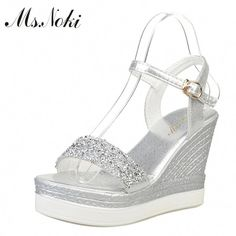 11246ce759cdb7 Ms.Noki high heels sandals women shinning glitter silver gold platform  wedges 2018 summer ladies